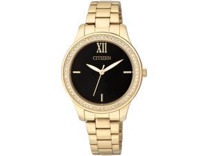 CITIZEN WOMEN'S GOLD TONE STEEL BRACELET & CASE QUARTZ ANALOG WATCH EL3088-59E