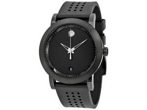 MOVADO MEN'S RUBBER BAND STEEL CASE SWISS QUARTZ BLACK DIAL WATCH 0607038