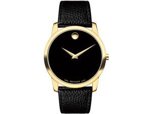 MOVADO MEN'S MUSEUM 40MM LEATHER BAND GOLD PLATED CASE QUARTZ WATCH 0607014