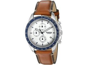 FOSSIL MEN'S 44MM BROWN LEATHER BAND STEEL CASE QUARTZ WHITE DIAL WATCH CH3029