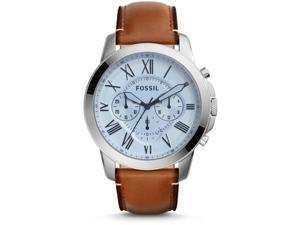FOSSIL MEN'S GRANT 44MM BROWN LEATHER BAND STEEL CASE QUARTZ WATCH FS5184