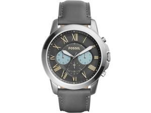FOSSIL MEN'S GRANT 44MM GREY LEATHER BAND STEEL CASE QUARTZ WATCH FS5183