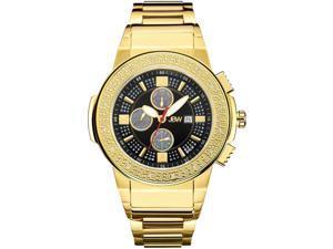 JBW MEN'S SAXON DIAMOND 46MM 18K GOLD PLATED CASE SWISS QUARTZ WATCH JB-6101-J