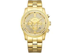 JBW MEN'S VANQUISH DIAMOND 45MM 18K GOLD PLATED BRACELET QUARTZ WATCH J6337B