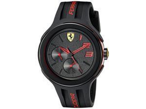 Ferrari Scuderia FXX Men's 46mm Black Silicone Plastic Case Quartz Watch 0830223