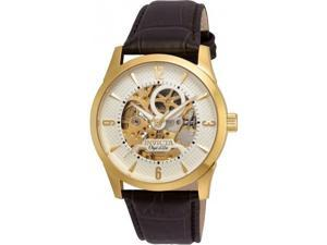 INVICTA MEN'S OBJET D ART BROWN LEATHER BAND STEEL CASE AUTOMATIC WATCH 22636