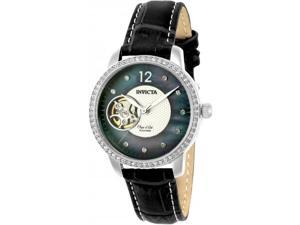 INVICTA WOMEN'S OBJET D ART LEATHER BAND STEEL CASE AUTOMATIC WATCH 22620