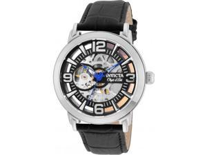 INVICTA MEN'S OBJET D ART BLACK LEATHER BAND STEEL CASE AUTOMATIC WATCH 22607