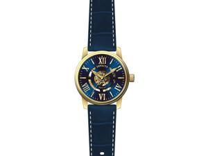 INVICTA MEN'S OBJET D ART BLUE LEATHER BAND STEEL CASE AUTOMATIC WATCH 22601