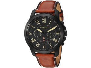 FOSSIL MEN'S BROWN LEATHER BAND STEEL CASE QUARTZ BLACK DIAL WATCH FS5241