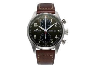 ALPINA MEN'S STARTIMER PILOT 44MM LEATHER BAND AUTOMATIC WATCH AL-725GR4S6