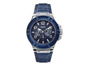 Guess Mens 45mm Blue Calfskin Stainless Steel Case Mineral Glass Watch W0040G7