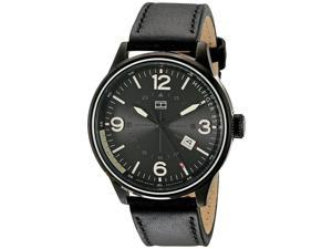 Mens Black Tommy Hilfiger Leather Strap Sport Watch 1791103