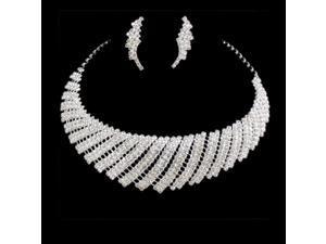 Bridal Sets Of Chain Wedding Dress Rhinestone Necklace Earrings Jewelry US Stock