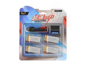 4pcs 3.7V 800mAh 20C Lipo Battery for DFD F181 F187 F163 H12C RC Helicopter + 4in1 charger+4PCS JST+XH cable