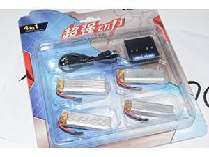 4 pcs 3.7V 500mAh 25C Lipo Battery for Wltoys V966 V977 V930 RC Helicopter + 4in1 charger