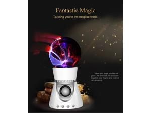 Super Cool ! Christmas Gift Portable Wireless Mini Bluetooth Speaker with Fantastic Flashing Plasma Ball Boombox  (Color: Silver)