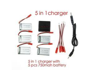 MJX X400/ X300C/ X800 RC Quadcopter Spare 5pcs 3.7V 750mAh with 5 in1 battery charger and 5pcs Jst Charging Cable