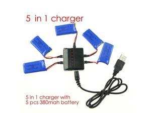 Hubsan X4 H107 H107L H107D RC Quadcopter Spare 5 in1 battery charger with 5pcs battery 380mah