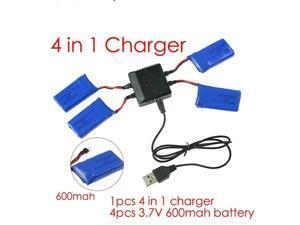 syma x5c parts X5 charger X5A X5C-1 RC Quadcopter Spare 4 in1 charger cable with 4pcs battery 600 mah