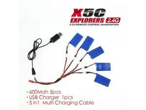 Syma x5 x5c x5A Spare Parts 600mAh Battery 5pcs/set with USB Charger for syma x5 x5c x5A RC Quadcopter Toy