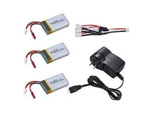 Newest Quadcopter MJX X600 Lipo Battery 7.4v 700mah 25c with 7.4v 800mah Ac Charger with 3 in 1 Charger Cable