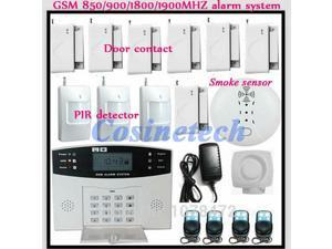 drop shipping Kit Police siren,Smoke Sensor,PIR detector,Home/office/shop SMS Auto-dial home security quad-band GSM Alarm System