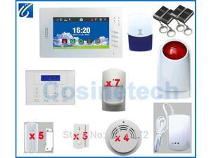 Customized Smart FSK 868MHZ alarm system with 7 inch Touch screen ,850/900/1800/1900Mhz GSM home alarm security alarm system