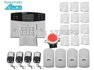 hot selling,LCD display Wireless Home security  GSM Alarm systems with 12 door/window sensor, 4  PIR motion detector,fire alarm
