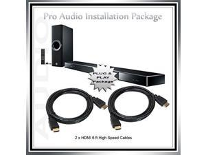 YSP-2500 Sound Bar with Bluetooth and Wireless Subwoofer Pro Audio Installation Plug and Play Package plus 2 x 6ft high speed HDMI cables (Bundle of 3 products)