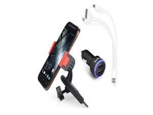 Apps2carTM Car Cd Slot Mount Holder for Smartphone Iphone 6/5s/5c/4s Galaxy S5/s4/s3/s2, HTC One Lg Sony Blackberry-Free Gift 3 in 1 Charging Cable for Iphone Android Smartphones &Dual USB Car Charger