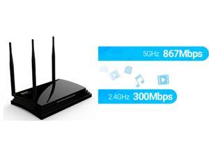 Wavlink AC1200 Wireless AC Dual Band Gigabit Smart Router, 2.4GHz 300Mbps + 5GHz 876Mbps Network Signal Receiver & Sender, Share Gigabit Ethernet LAN / WAN Ports and USB 2.0 for Guest Network- Black
