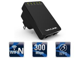 Wavlink Portable Wireless Router / Repeater / Access Point IEEE802.11N 2.4GHz Ethernet Network 300Mbps Wifi Signal Booster / Range Extender- WPS Encryption US Wall Plug-  Black
