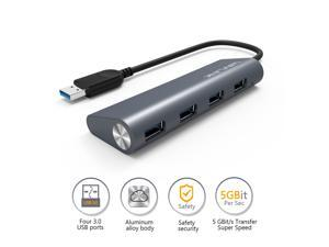 "Wavlink Premium USB 3.0 Hub 4-Port Aluminum Silver USB Extension  (9.5"" Built-in Cable) - Gray"