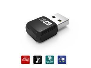 Wavlink Nano Wireless USB Adapter / Dongle / Receiver 802.11AC600 Dual Band 2.4G/5G Wi-fi Ethernet Network LAN Card Supports Windows Mac OS X- Black