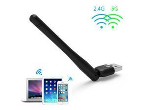 Wavlink Portable Wireless USB Adapter Wi-fi Dongle AC600- 5dBi Antenna IEEE802.11AC Dual Band 2.4 GHz 150Mbps + 5GHz 433Mbps Wireless Wifi Ethernet Network LAN Card- Black