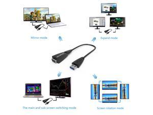 USB 3.0 / 2.0 to VGA Multi-display Adapter Converter External 1080P Video Graphic Card for Windows 10 /VISTA/ 7 / 8/8.x/XP - Black