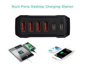 Wavlink USB Charging Station 60W Type C Charging Station  6 Port USB Charger Fast Charging HUB Wall Travel Desktop Charger Station (Multi Port: 2 USB C, 4USB) Adapter with Smart ID