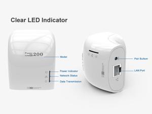 AV200 Nano Powerline Adapter Starter Kit, up to 200Mbps Ethernet PowerLine Adapter Network Extender Powerline Network KIT for pc mac laptops