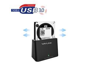 """Wavlink 6TB SuperSpeed USB 3.0 to SATA Hard Drive Docking Station for 2.5"""" and 3.5"""" HDD, SSD Plug and Play External Storage Enclosure w/ 12V Power Adapter- Black"""