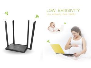 Wavlink AC1200 Dual Band Broadband Wi-Fi Repeater Wireless  Router 11AC 2.4GHz & 5GHz Concurrent Ethernet Network - Share 5 WAN/LAN Ports, 4x5dBi High Gain Antennas best for Guest Network- Black