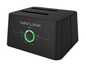 "Wavlink Universal Dual Bay 12TB HDD/SSD Docking Station w/ 5Gbps USB-C Cable for All SATA 2.5"" 3.5"" Hard Disk Offline Clone + One Button Backup Multitask External Storage Enclosure - Black"