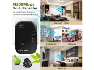 Wavlink Wifi Repeater 300Mbps Range Extender/Access Point 802.11n/b/g Network with -3dBi Internal Antennas WPS Protection, Support Repeater, AP Mode-Black  US plug Ship From US