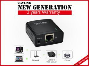 Wavlink 1000Mbps Print Server USB 2.0 Printer Network LPR Print Server Share LAN Networking Adapter Hub MFP Printer share printers usb devices over wired ethernet or a wireless networking
