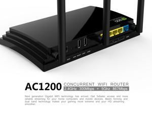 Wavlink AC1200 Wireless AC Dual Band Gigabit Smart Router, 2.4GHz  + 5GHz 1200Mbps 5dbi Network Signal Receiver & Sender, Share Gigabit Ethernet LAN / WAN Ports and USB 2.0 for Guest Network- Black