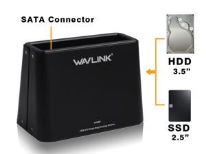 "Wavlink 6TB Universal 2.5"" 3.5"" SATA USB 3.0 5Gb/s HDD/SSD Storage Docking Station, Plug and Play - Black"
