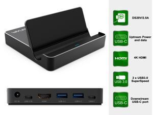 Wavlink HDMI USB 3.0/3.1 Universal Docking Station with Power Delivery Aluminium Alloy Body Upstream Charging Flip Style Design (1 X 4K HDMI 2 X USB3.0 ports 1 X USB 3.0 C port 1 X USB 3.1C Gen2 port)