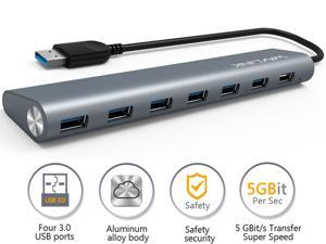 "Wavlink Portable7-Port USB 3.0 Hub Aluminum Alloy Design 9.5"" Built-in Extension USB Cable Surge Protector - Transfer Rates Up to 5Gbps, 5V AC Adapter - Gray"