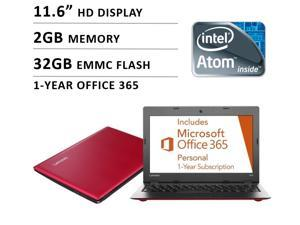 "2016 Newest Lenovo Premium High Performance 11.6"" Laptop ( Intel Atom Quad Core Processor, 2GB Memory, 32GB flash memory, No DVD, WiFi, Webcam, Windows 10 ) - Red"