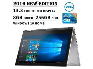 """2016 Newest Dell Inspiron 7000 Premium High Performance Flagship Laptop with 13.3"""" FHD Touchscreen ( Intel Core i7, 8GB, 256GB SSD, No DVD, Backlit Keyboard, Stylus, Bluetooth, Windows 10 ) - Silver"""